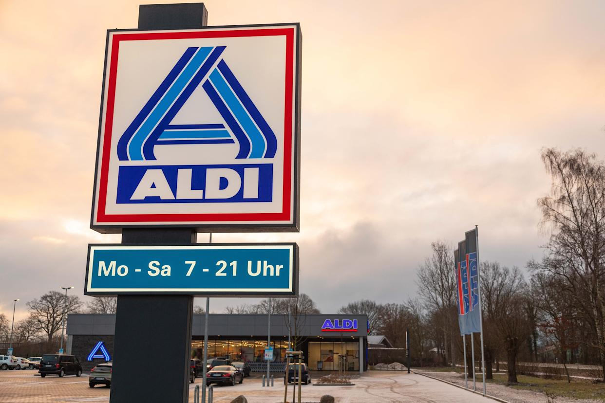 BARGTEHEIDE, GERMANY - MARCH 06: (BILD ZEITUNG OUT) The ALDI North logo is seen at an Aldi store on March 06, 2021 in Bargteheide, Germany. (Photo by Katja Knupper/Die Fotowerft/DeFodi Images via Getty Images)