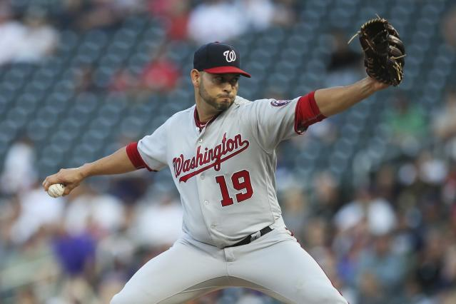 Washington Nationals pitcher Anibal Sanchez throws against the Minnesota Twins in the first inning of a baseball game Tuesday, Sept. 10, 2019, in Minneapolis. (AP Photo/Jim Mone)