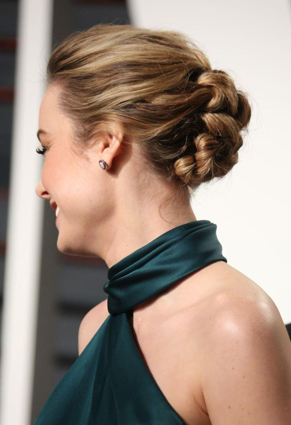 <p>Who needs a boring old bun when you can have a braid a la Brie Larson?</p>