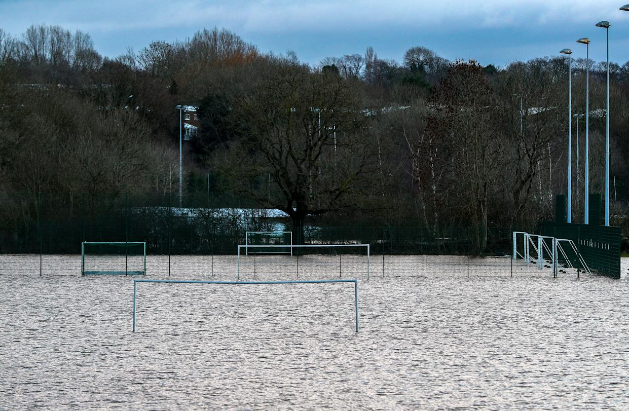 Parrs Wood High School playing fields are flooded after the River Mersey rose high in Didsbury, Manchester, as Storm Christoph causes widespread flooding across the UK. Picture date: Thursday January 21, 2021.