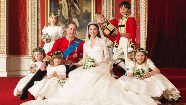 PHOTO: Britain's Prince William and his bride Catherine, Duchess of Cambridge, pose for an official photograph, with their bridesmaids and pageboys, on the day of their wedding, in the throne room at Buckingham Palace, in central London, April 29, 2011. (Hugo Burnand/Clarence House/Handout via Reuters)