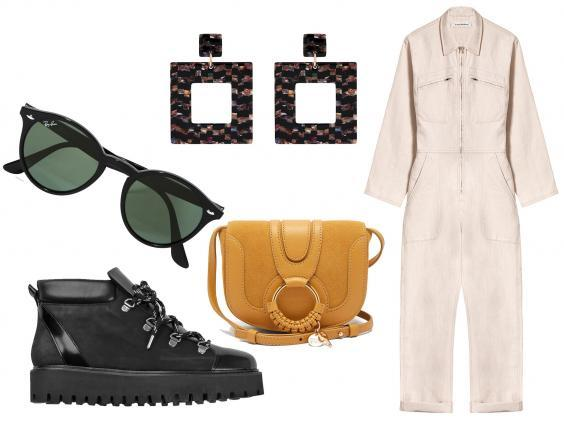 Ray-ban round-frame acetate sunglasses: £115, Ganni Winter city boots: £240, Accessorize long hoop resin earrings: £4, See by Chloe Hana mini leather and suede cross-body bag: £250, A Plan Application sand jumpsuit: £495