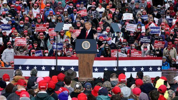PHOTO: President Donald Trump speaks at a campaign rally at HoverTech International, Oct. 26, 2020, in Allentown, Pa. (Chris Szagola/AP)