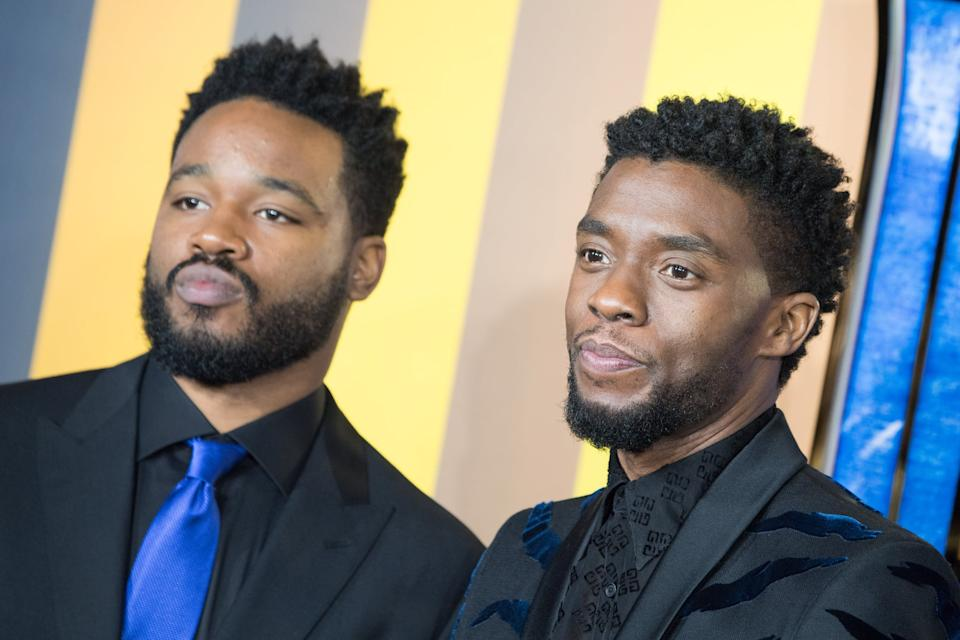 LONDON, ENGLAND - FEBRUARY 08: (L-R) Ryan Coogler and Chadwick Boseman attend the European Premiere of 'Black Panther' at Eventim Apollo on February 8, 2018 in London, England. (Photo by Jeff Spicer/FilmMagic)