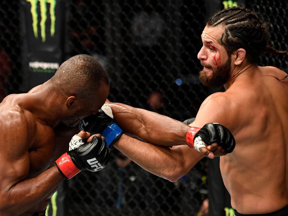 Kamaru Usman (left) again defends his welterweight title against Jorge Masvidal (Zuffa LLC via Getty Images)