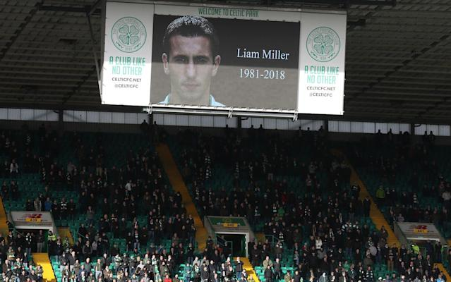 "Liam Miller's untimely death was felt with particular poignancy on Saturday at Celtic Park, where he began his career as a youth player in 1997, before making his debut against Dundee United three years later in Kenny Dalglish's last game in charge. Martin O'Neill, the next Celtic manager, was so impressed by the youngster's skills that he offered Miller a four-year contract and proposed to refashion the team around him. Miller declined, moving to Old Trafford when his contract expired in July 2004 but, against expectations, he could not secure a first team place under Alex Ferguson and his career after Manchester United became peripatetic and he moved on to Sunderland, Queen's Park Rangers and Hibernian before spells in Australia and the USA, where he was diagnosed with terminal pancreatic cancer in November. Miller's passing on Friday was commemorated by an immaculately observed minute's silence before kick-off at Celtic's home tie with Partick Thistle in the fifth round of the William Hill Scottish Cup. ""You saw from the response that Liam was held in affection here and that reflected the fact that he came through the ranks,"" said Tom Boyd, the former Celtic captain, who played alongside Miller. ""It took him a little while to get into the team because the midfield was full of quality international players at the time, but when he did step up he made a massive impact. We always have a certain respect at Celtic for players who come up from youth level and it seems appropriate that our goals on Saturday were all scored by James Forrest, who progressed through the same route."" Forrest, in fact, joined Celtic's academy while Miller was still with the club and, if his initial progress was less spectacular than that of the Republic of Ireland international, the winger is now enjoying his most productive season with his best ever goals total – now at 16 and likely to rise by several more, if current form is a reliable guide. His plunder was aided by woeful defending by Partick, who were behind within two minutes when Forrest converted the rebound from a Moussa Dembele shot which came off Danny Devine. Celtic's players join together before the game Credit: PA Forrest was granted the freedom of the entire Thistle half for a run and shot in the 10th minute and completed his first ever hat-trick eight minutes after the break when he finished a left-wing combination which linked Kieran Tierney and Scott Sinclair. The Jags, though had been given hope when Jozo Simunovic carelessly handed possession to Kris Doolan for a delightful chip over Dorus de Vries in the Celtic goal. Doolan, too, was etching himself into the record books. The goal crowned his 350th appearance for Thistle before he made way on the hour for Conor Sammon. The replacement kept the issue in doubt by netting Thistle's second in the 83rd minute and the visitors almost forced a draw in injury time, when Tierney and De Vries between them just managed to thwart Ryan Edwards on the goal line. ""It was a great cross from Chris Erskine and I looked up and thought I was going to score,"" said Edwards. ""Kieran Tierney blocked it – he did ever so well because I was in front of him. ""It was one of those where you see the ball hit the net before you connect. It was coming right to my foot and Tierney did ever so well and then the keeper just picked it up. I'm disappointed we didn't get a replay."" If Thistle were disappointed at being caught cold by Forrest's first two goals – especially since they had discussed the need for a disciplined start – they can take consolation for the fight against relegation from their spirited finish, a notable contrast with early season form that saw them damaged repeatedly by late goals. Forrest (left) celebrates after completing his hat-trick Credit: PA Asked if increased stamina now played a part, Edwards said: ""Maybe – the fitness thing could be mentality and with players coming back from injury there is greater competition for places. It's a positive environment to be in."" The possibility of yet another Thistle revival in the second half of the season has been revived by recent form. ""I hope so,"" Edwards said. ""This is my third season and it's happening again. ""We don't seem to start great but then it comes January and we seem to turn it around. I don't know why that is. We don't want to be in that position and it's not planned. We've had good league results and we want to keep progressing. We have three massive games coming up starting next week against Dundee."" Celtic, of course, are engaged on a greatly contrasting itinerary, with the defence of their domestic treble and the possibility of progress in the Europa League. Zenit, though, are equipped with much more potent firepower than Partick, a strength that will require concomitant concentration by the Hoops defenders, if they are to keep the Russian side at bay. It was a long game, hectic too,"" said Kris Ajer, Celtic's Norwegian central defender. ""Thistle pressed us well throughout the whole game. Even when we went up 2-0 they did really well to come back and never gave us a second on the ball."" That, it need hardly be overstated, is a factor that cannot escape Zenit's attention ahead of what promises to be another fascinating, but tense, European evening at Parkead."