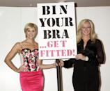 "Jenni Falconer, the face and body of Adore Moi by Ultimo and founder of Ultimo Michelle Mone, during a photocall to launch the ""Bin Your Bra Campaign"", at Debenhams on Oxford Street, central London. (Photo by Yui Mok/PA Images via Getty Images)"