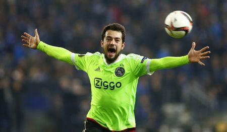 Football Soccer - Schalke 04 v Ajax Amsterdam - UEFA Europa League Quarter Final Second Leg - Veltins-Arena, Gelsenkirchen, Germany - 20/4/17 Ajax's Amin Younes celebrates scoring their second goal  Reuters / Thilo Schmuelgen Livepic