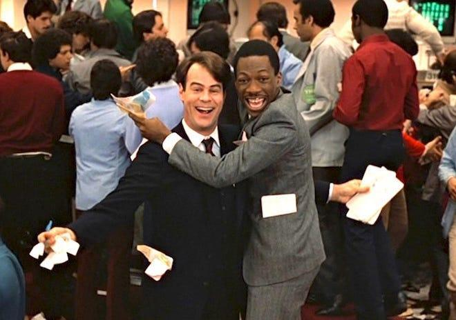 Dan Aykroyd, left, and Eddie Murphy play opposites thrown together in a vengeance scheme against rich, racist brothers in 1983's 'Trading Places.'