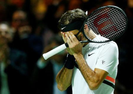 Tennis - ATP 500 - Rotterdam Open - Quarterfinal - Ahoy, Rotterdam, Netherlands - February 16, 2018 Roger Federer of Switzerland reacts after defeating Robin Haase of the Netherlands. REUTERS/Michael Kooren