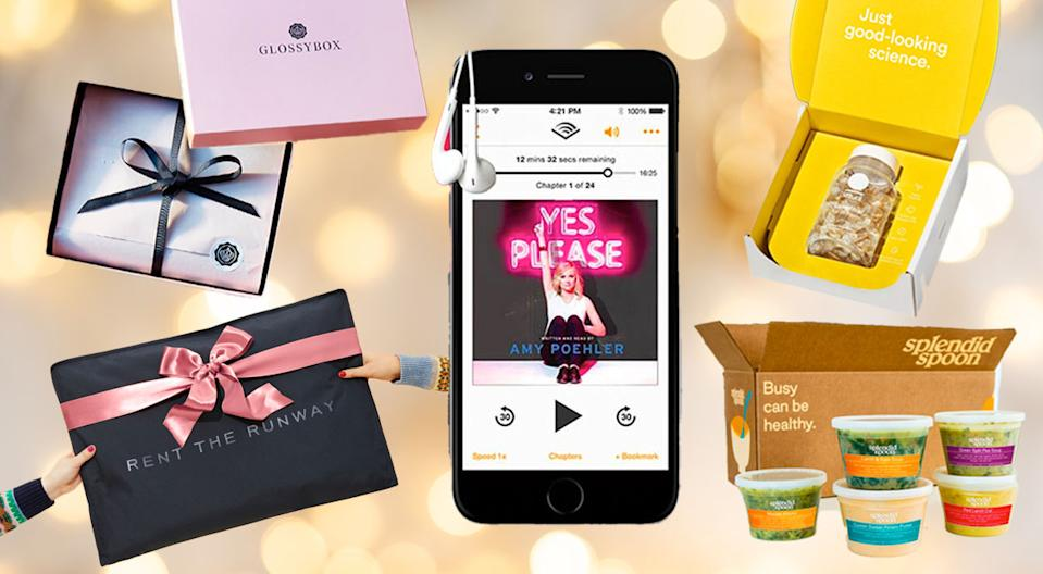 The gifts that keep on giving: subscriptions to services that deliver entertainment, beauty goodies, delicious food, and more. (Photo: Glossybox, Rent the Runway, Audible, Ritual, Splendid Spoon)