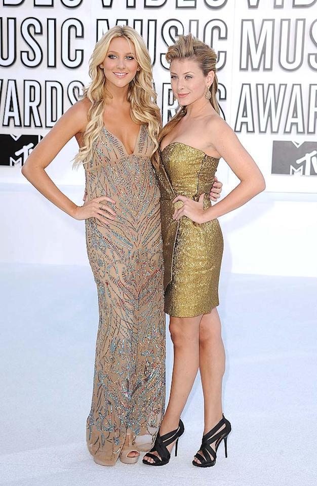 """Audrina's former """"Hills"""" co-stars, Stephanie Pratt and Lauren Bosworth, also got gussied up for the MTV event. While Steph looked like a sun-kissed California girl in a sheer sequined Nicole Miller dress, Lo paired her bouffant 'do with a sassy strapless gold frock. Steve Granitz/<a href=""""http://www.wireimage.com"""" target=""""new"""">WireImage.com</a> - September 12, 2010"""
