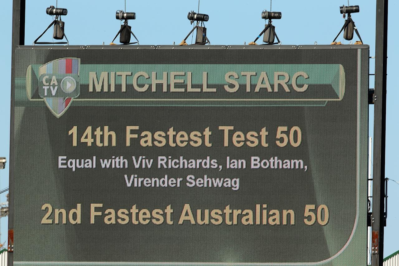 PERTH, AUSTRALIA - DECEMBER 03: A big screen shows Mitchell Starc's fifty run statistics during day four of the Third Test Match between Australia and South Africa at the WACA on December 3, 2012 in Perth, Australia.  (Photo by Cameron Spencer/Getty Images)