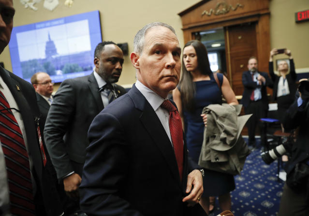 EPA Administrator Scott Pruitt leaves after testifying before the House Energy and Commerce subcommittee hearing on Capitol Hill, Thursday, April 26, 2018. (AP Photo/Pablo Martinez Monsivais)
