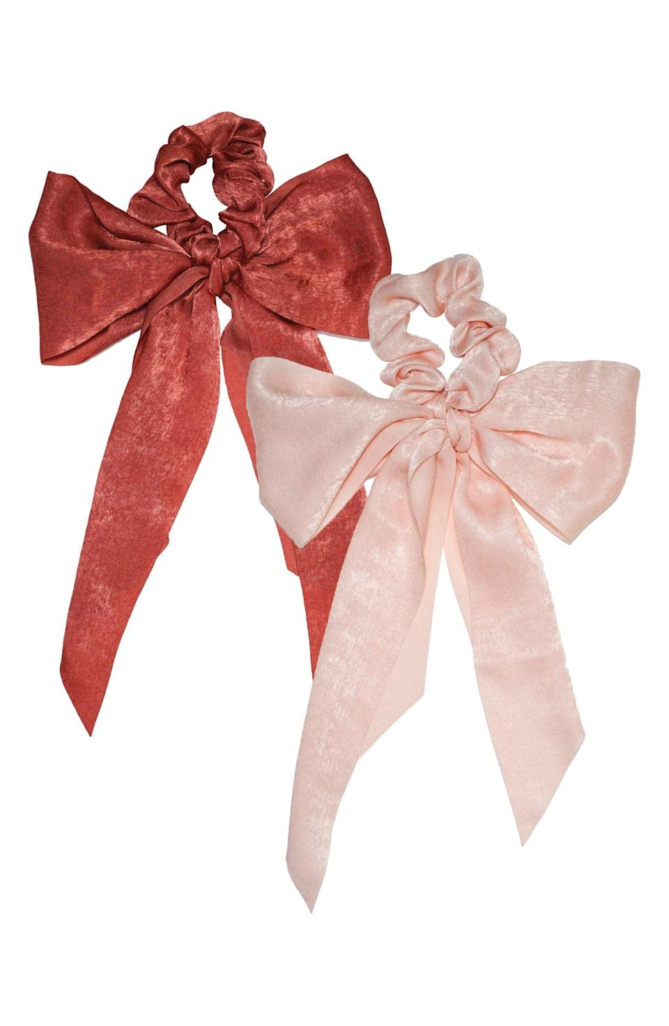 <p>These <span>Kitsch Two-Pack Satin Scarf Scrunchies</span> ($12) are perfect for the holidays.</p>