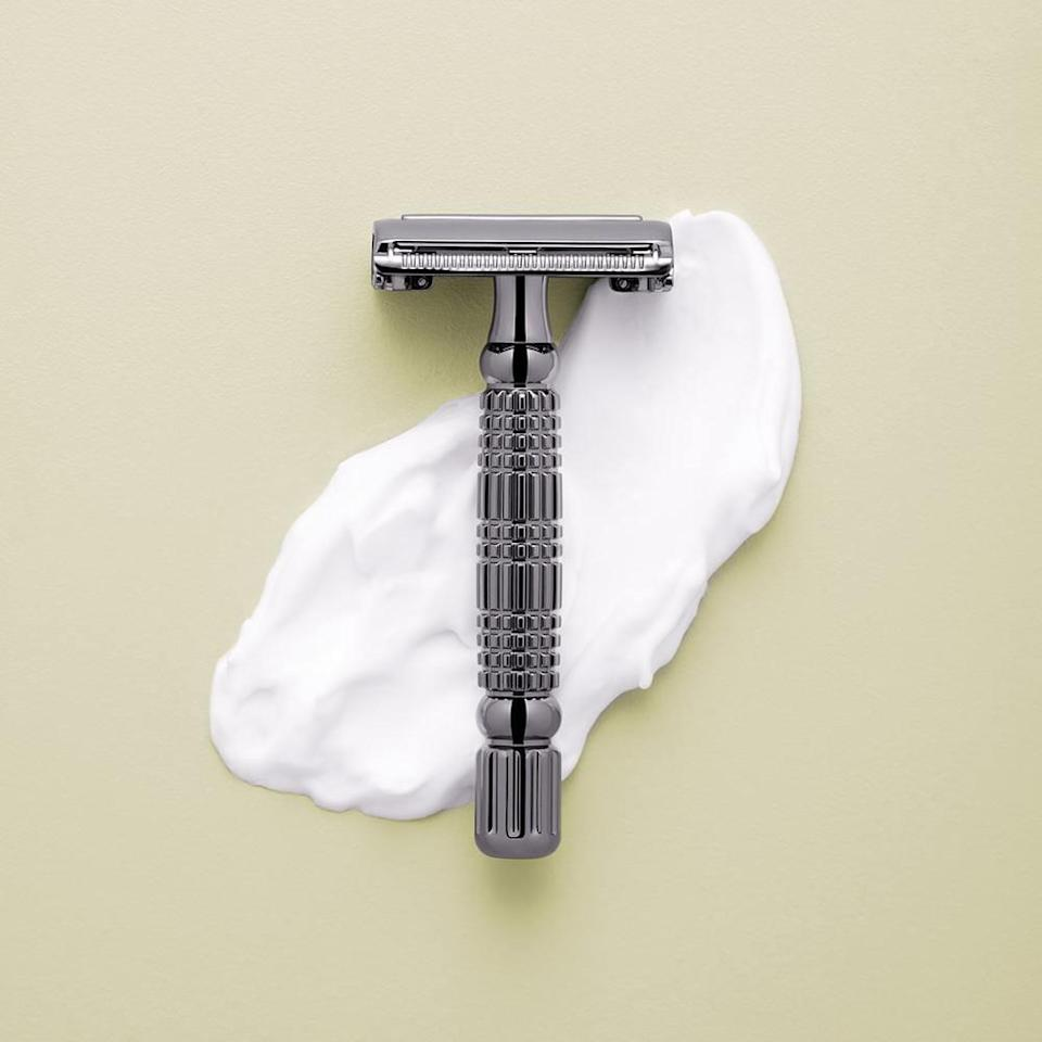 "<p>getrockwell.com</p><p><strong>$15.00</strong></p><p><a href=""https://getrockwell.com/collections/razors/products/rockwell-r1-razor-white-chrome"" rel=""nofollow noopener"" target=""_blank"" data-ylk=""slk:BUY IT HERE"" class=""link rapid-noclick-resp"">BUY IT HERE</a></p><p>Making the transition from multi-blade to safety razor can be difficult, but this pared down version keeps it simple. It only has one setting so you can get used to the sensation and the butterfly opening makes it easy to reload blades (which you should do often to cut down on irritation).</p>"