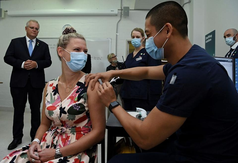 Prime Minister Scott Morrison during a visit to the Sydney Local Health District Vaccination Hub in Camperdown. Source: Getty