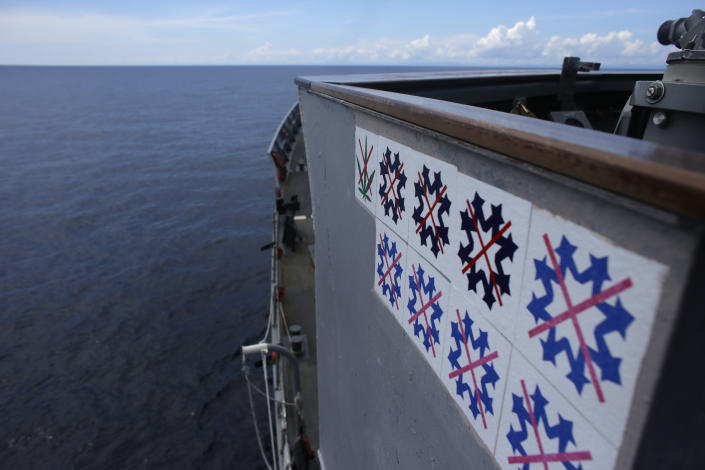 "ADVANCED FOR USE SUNDAY FEB. 3 AND THEREAFTER In this Saturday, Oct. 13, 2012 photo counter drug cocaine ""snowflakes"" and counter drug marijuana ""leaves"" that were awarded by the Coast Guard command to the USS Underwood are displayed on the bridge wing for their past counter-narcotic efforts while patrolling in international waters near Panama. In the most expensive initiative in Latin America since the Cold War, the U.S. has militarized the battle against drug traffickers, spending more than $20 billion in the past decade. U.S. Army troops, Air Force pilots and Navy ships outfitted with Coast Guard counternarcotics teams are routinely deployed to chase, track and capture drug smugglers. (AP Photo/Dario Lopez-Mills)"