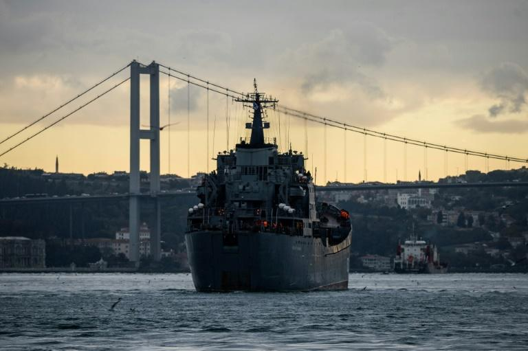 Russian warships have travelled frequently through the Bosphorus Strait to and from the Syrian coast, where a navy presence has been deployed to bolster Russia's air campaign in support of President Bashar al-Assad