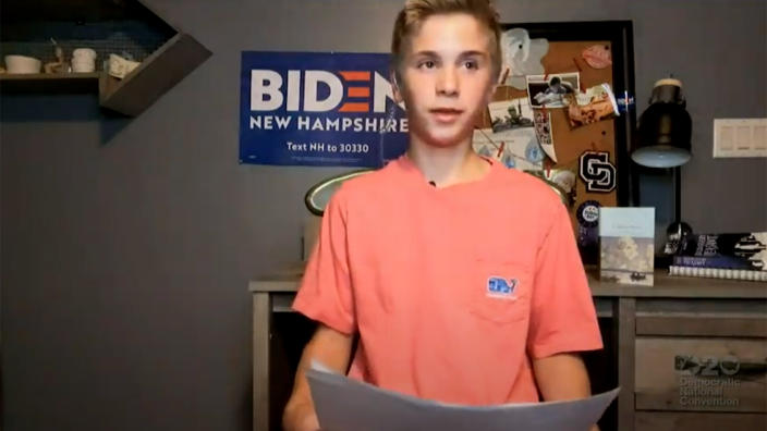 Braydon Harrington speaks during the virtual Democratic National Convention on August 20, 2020. (via Reuters TV)