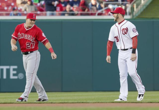 Angels All-Star Mike Trout (left) is the best player in MLB according to Bryce Harper. (AP)