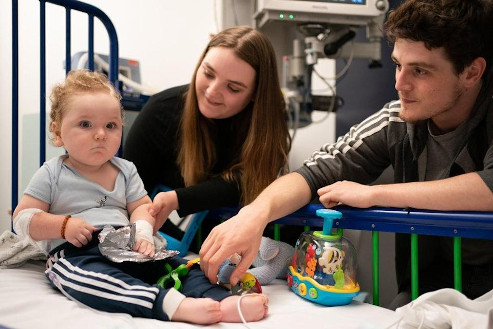 Rosie-Mae Walton and Wes Powell said their son Marley appears to be doing really well after the treatment (Joe Giddens/PA) (PA Wire)