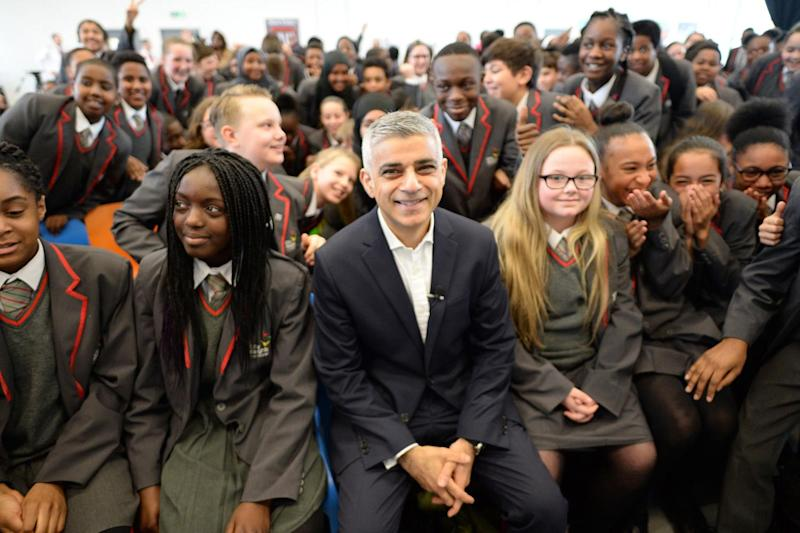 Child safety: Sadiq Khan launches his Police and Crime Plan at Brixton's City Heights Academy in south London: PA