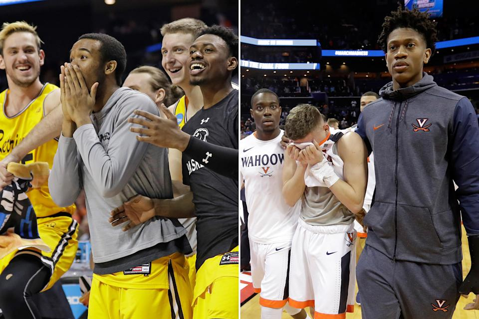 <p>Right: UMBC players celebrate a teammate's basket against Virginia during the second half of a first-round game in the NCAA men's college basketball tournament in Charlotte, N.C., Friday, March 16, 2018. (AP Photo/Gerry Broome)<br>Left:Virginia's Kyle Guy, center, walks off the court following the team's 74-54 loss to UMBC in a first-round game in the NCAA men's college basketball tournament in Charlotte, N.C., Friday, March 16, 2018. (AP Photo/Gerry Broome) </p>