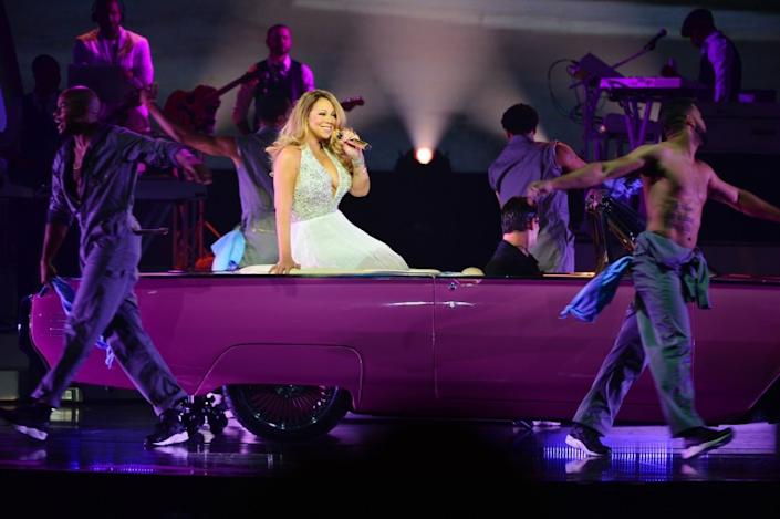 """Mariah Carey performs at the Colosseum at Caesars Palace in Las Vegas during the preview of her residency """"Mariah #1 to Infinity."""""""