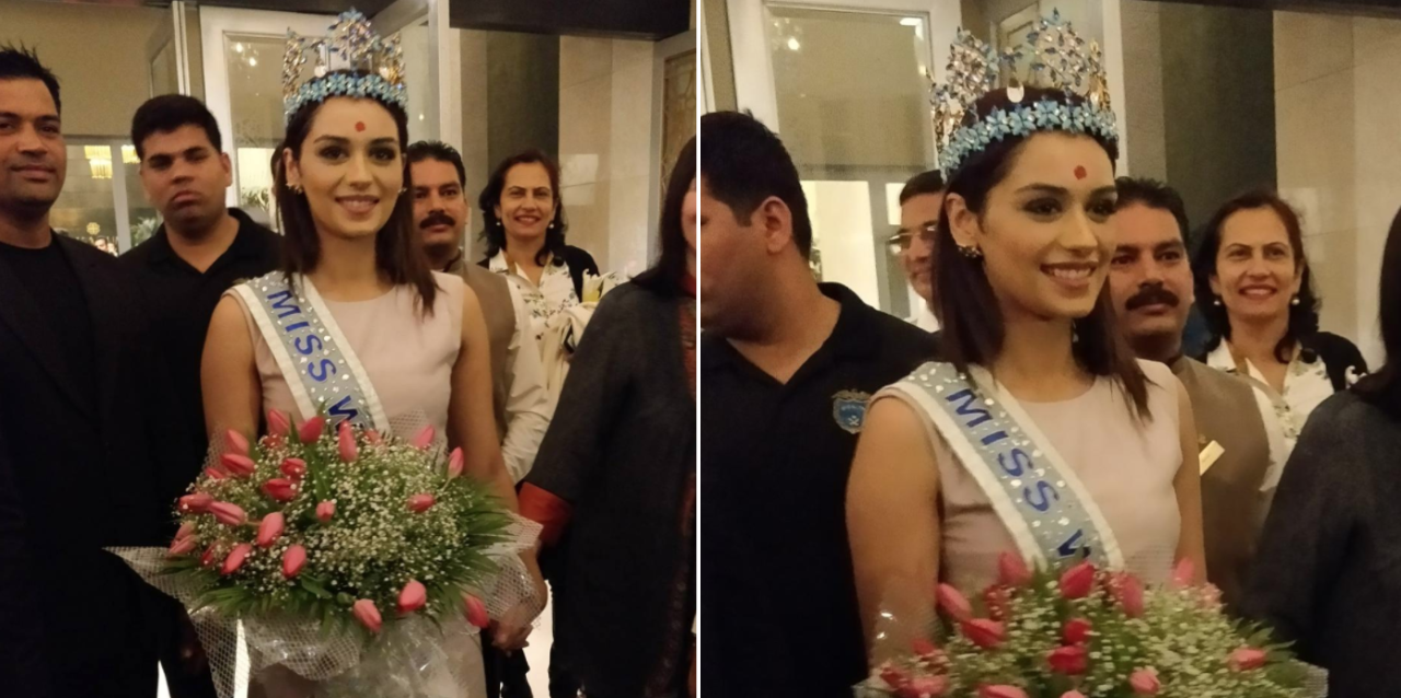 "<p>SEE PICS: Miss World Manushi Chhillar receives grand welcome in Mumbai. (<a rel=""nofollow"" href=""https://twitter.com/stregismumbai/status/934534893115138048/photo/1?ref_src=twsrc%5Etfw&ref_url=https%3A%2F%2Fin.news.yahoo.com%2Fsee-pics-miss-world-manushi-033541073.html"">Photo tweeted by St. Regis, Mumbai</a>) </p>"