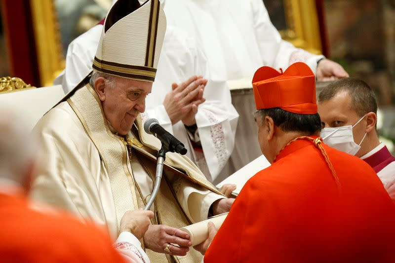 FILE PHOTO: Pope Francis elevates 13 prelates to the rank of cardinal, at St. Peter's Basilica at the Vatican