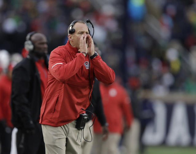 North Carolina State head coach Dave Doeren in action during the first half of an NCAA college football game against Notre Dame, Saturday, Oct. 28, 2017, in South Bend, Ind. (AP Photo/Darron Cummings)