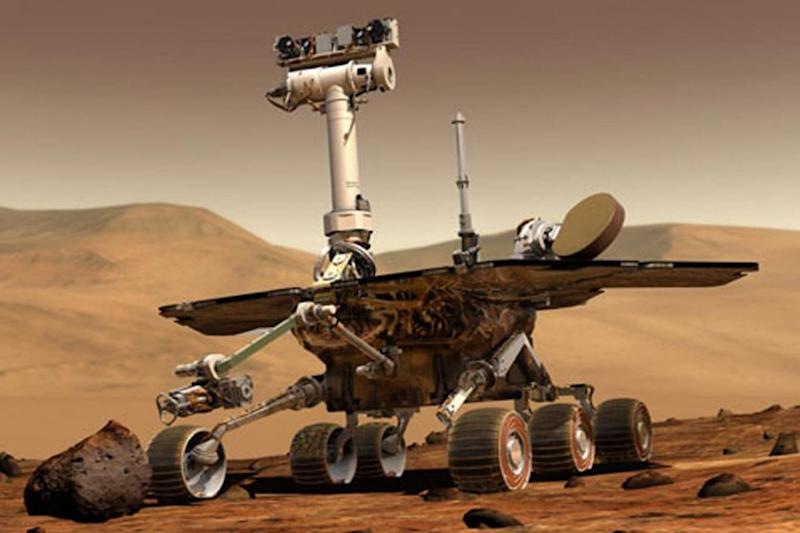 An artist's impression of the NASA Mars exploration rover on the surface of the Red Planet (NASA)