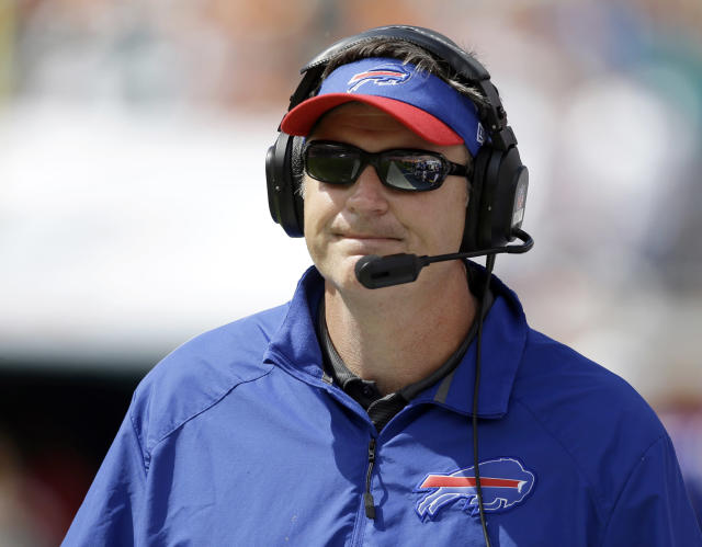 Buffalo Bills head coach Doug Marrone watches from the sidelines during the first half of an NFL football game against the Miami Dolphins, Sunday, Oct. 20, 2013, in Miami Gardens, Fla. (AP Photo/Lynne Sladky)