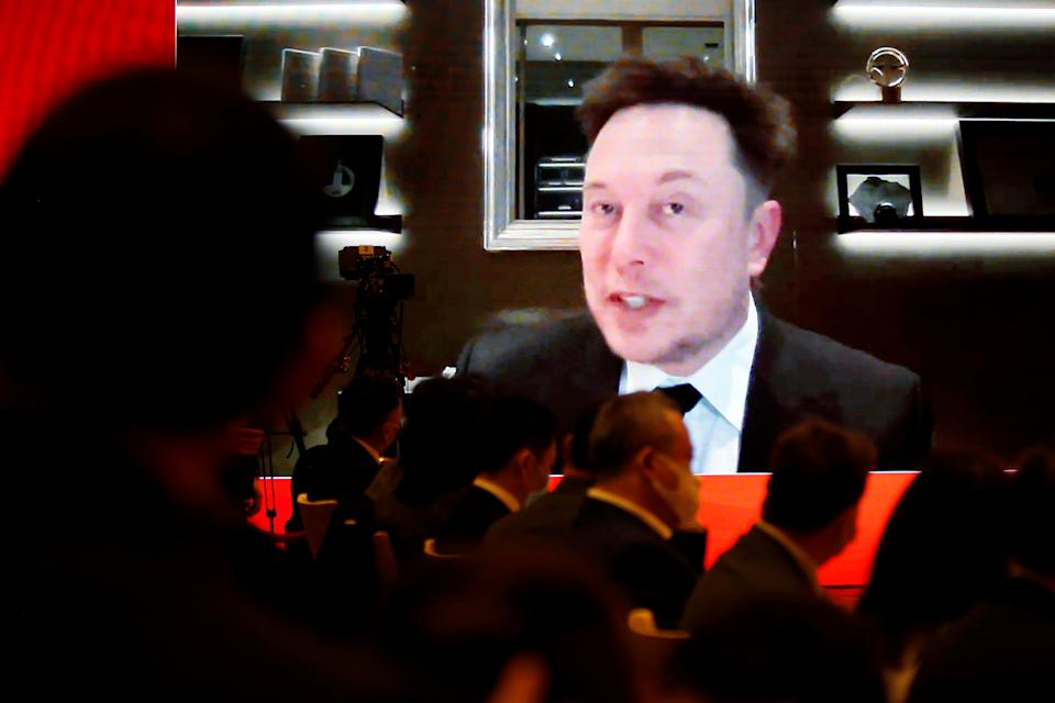 Tesla Inc Chief Executive Officer Elon Musk attends via video link a session at the China Development Forum held in Beijing, China March 20, 2021. REUTERS/Roxanne Liu