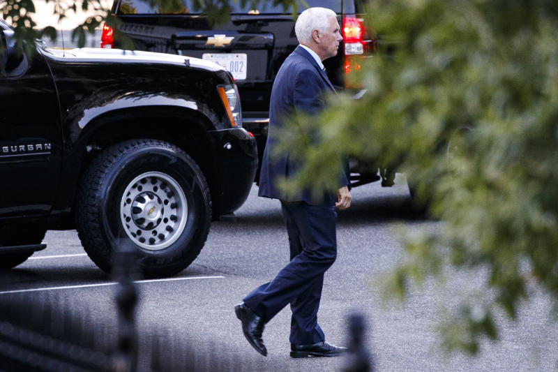 Vice President Mike Pence leaves the White House, Sunday, Sept. 15, 2019, after a meeting in Washington. Senior U.S. officials, including the Vice President and Defense Secretary Mark Esper, were seen at the White House Sunday afternoon for a National Security Council meeting on a Saturday attack on Saudi Arabia's oil infrastructure that the U.S. has attributed to Iran. (AP Photo/Jacquelyn Martin)