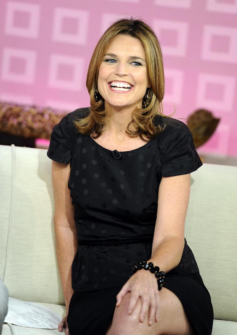 """FILE - In this Aug. 10, 2011 file photo provided by NBC, """"Today"""" show co-host Savannah Guthrie appears on the set during a broadcast, in New York. Guthrie was welcomed Monday, July 9, 2012, by her co-host, Matt Lauer, after replacing Ann Curry as co-host on the popular morning news program. (AP Photo/NBC, Peter Kramer, File)"""