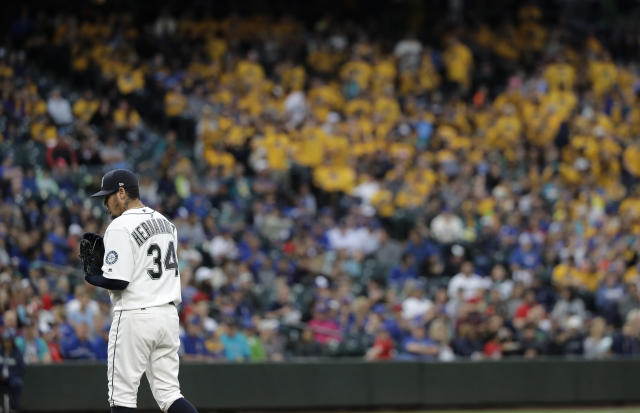 Felix Hernandez's status in the Mariners' rotation is up in the air. (AP Photo)