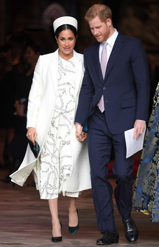 "<p><strong>11 March </strong>The Duke and Duchess of Sussex <a rel=""nofollow"" href=""https://www.harpersbazaar.com/uk/culture/culture-news/a26782886/royal-family-commonwealth-day-service-london/"">attended the Common Wealth Service</a>. Meghan wore a custom Victoria Beckham chain printed dress with a white coat and emerald courts.</p><p><a rel=""nofollow"" href=""https://www.modaoperandi.com/victoria-beckham-fw19/chain-link-print-cady-dress?mid=40524&siteID=TnL5HPStwNw-sGGDMKjUE.jrAXgptJMhqg"">PRE-ORDER THE DRESS</a></p>"