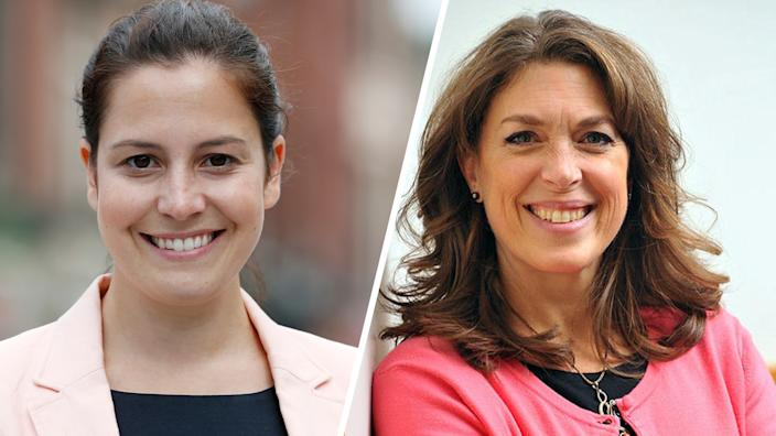 Then Rep-elect Elise Stefanik in 2014 and challenger Tedra Cobb. (Photos: Mike Groll/AP)