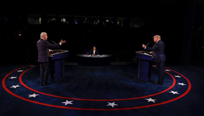 President Donald Trump and Democratic presidential nominee Joe Biden participate in the final presidential debate on Thursday night. Trump used part of his time on the stage to suggest that Biden isn't really from Scranton, Pennsylvania, even though the former vice president was born in the city and lived there until he was 10. (Photo: Jim Bourg-Pool/Getty Images)