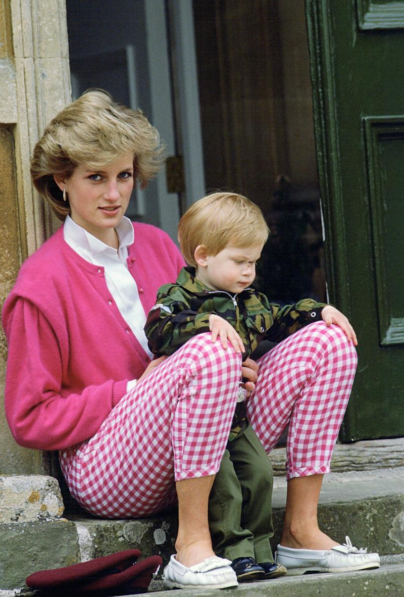 Princess Diana Sitting Outside Highgrove With Her Son Harry Who Is In Uniform As A Soldier - Credit: Tim Graham/Getty