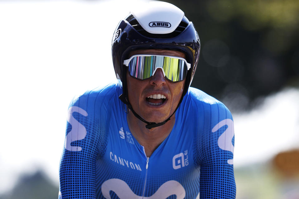 SAINT-EMILION, FRANCE - JULY 17: Enric Mas of Spain and Movistar Team at arrival during the 108th Tour de France 2021, Stage 20 a 30,8km Individual Time Trial Stage from Libourne to Saint-Emilion 75m / ITT / @LeTour / #TDF2021 / on July 17, 2021 in Saint-Emilion, France. (Photo by Chris Graythen/Getty Images)