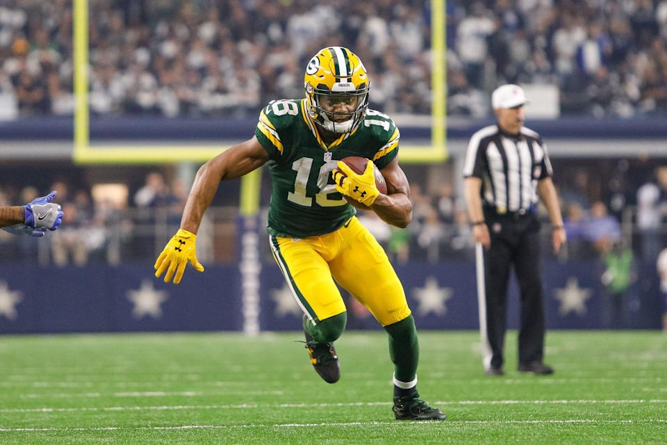 ARLINGTON, TX - JANUARY 15: Green Bay Packers wide receiver Randall Cobb (18) runs after a reception during the NFC Divisional Playoff game between the Dallas Cowboys and Green Bay Packers on January 15, 2017, at AT&T Stadium in Arlington, TX.  (Photo by Andrew Dieb/Icon Sportswire via Getty Images)