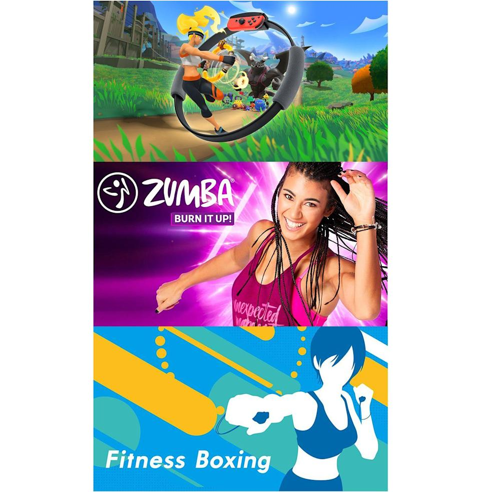 "<p><em><strong>Ring Fit Adventure</strong><br></em><em>$80, <a href=""https://www.bestbuy.com/site/ring-fit-adventure-nintendo-switch/6352149.p?skuId=6352149"" rel=""nofollow noopener"" target=""_blank"" data-ylk=""slk:bestbuy.com"" class=""link rapid-noclick-resp"">bestbuy.com</a></em><br><a class=""link rapid-noclick-resp"" href=""https://go.redirectingat.com?id=74968X1596630&url=https%3A%2F%2Fwww.bestbuy.com%2Fsite%2Fring-fit-adventure-nintendo-switch%2F6352149.p%3FskuId%3D6352149&sref=https%3A%2F%2Fwww.esquire.com%2Flifestyle%2Fhealth%2Fg32213300%2Fbest-home-workout-gear-subscriptions%2F"" rel=""nofollow noopener"" target=""_blank"" data-ylk=""slk:Buy"">Buy</a></p><p><em><strong>Zumba Burn It Up!</strong><br></em><em><em>$40, <a href=""https://www.amazon.com/Zumba-Burn-Up-Switch-Digital/dp/B081W8Q5PY"" rel=""nofollow noopener"" target=""_blank"" data-ylk=""slk:amazon.com"" class=""link rapid-noclick-resp"">amazon.com</a><br></em></em><a class=""link rapid-noclick-resp"" href=""https://www.amazon.com/Zumba-Burn-Up-Switch-Digital/dp/B081W8Q5PY?tag=syn-yahoo-20&ascsubtag=%5Bartid%7C10054.g.32213300%5Bsrc%7Cyahoo-us"" rel=""nofollow noopener"" target=""_blank"" data-ylk=""slk:Buy"">Buy</a></p><p><em><strong>Fitness Boxing</strong><br><em>$50, <a href=""https://www.amazon.com/Fitness-Boxing-Nintendo-Switch-Digital/dp/B07LFGRPQY"" rel=""nofollow noopener"" target=""_blank"" data-ylk=""slk:amazon.com"" class=""link rapid-noclick-resp"">amazon.com</a></em><br></em><a class=""link rapid-noclick-resp"" href=""https://www.amazon.com/Fitness-Boxing-Nintendo-Switch-Digital/dp/B07LFGRPQY?tag=syn-yahoo-20&ascsubtag=%5Bartid%7C10054.g.32213300%5Bsrc%7Cyahoo-us"" rel=""nofollow noopener"" target=""_blank"" data-ylk=""slk:Buy"">Buy</a></p><p>Long gone are the days of <em>Wii Fit, </em>but gaming can still give you a hefty, Apple Watch-worthy workout. Specifically, the Nintendo Switch has some amazing titles that utilize its phenomenal infrared sensors and motion controls. <em>Ring Fit Adventure</em>, <em>Zumba Burn It Up!</em>, and <em>Fitness Boxing</em> all give you a shockingly in-depth workout, given the platform. If you own a Switch, the only one at the moment that may be a little challenging to buy is <em>Ring Fit</em>, which is hitting a mass shortage due to the pandemic, but rest assured the other two, which can be purchased digitally, will kick your ass just the right amount. <em>Fitness Boxing</em> is kind of like <em>DDR </em>but with punching—you work combos out to modern songs (I always pick ""Video Killed the Radio Star""), while the motion sensors help to correct your posture. As for <em>Zumba Burn It Up!,</em> I was genuinely not prepared for how much the game made me break into a sweat. Zumba gets a bad rap, but this is some P90X stuff, with the bonus of being more interactive. Needless to say, one of these digital teachers can help you keep a regimen going. <br></p>"