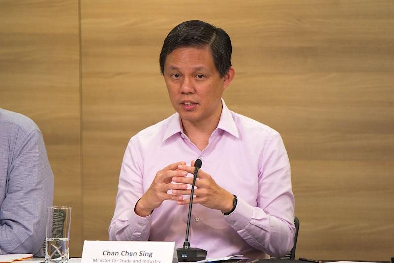 Minister for Trade and Industry Chan Chun Sing speaking at a press conference on Monday (27 January). (PHOTO: Dhany Osman / Yahoo News Singapore)