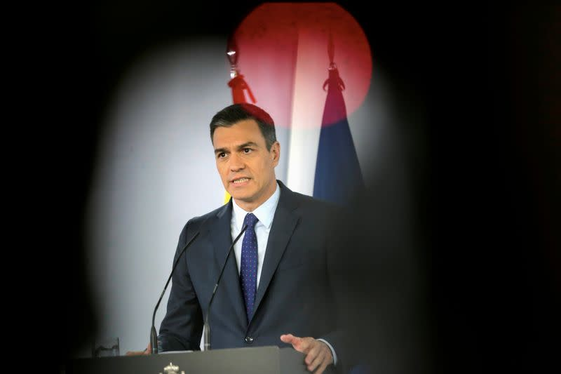 FILE PHOTO: Spanish PM Sanchez attends a news conference at the Moncloa Palace in Madrid