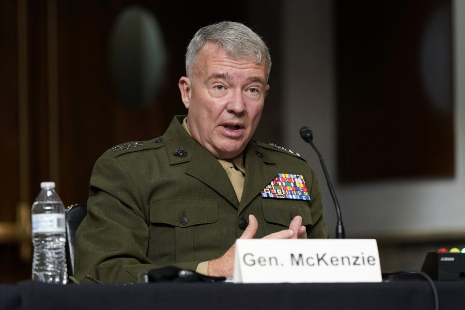 Gen. Kenneth McKenzie, commander of the United States Central Command, speaks during a Senate Armed Services Committee hearing on the conclusion of military operations in Afghanistan and plans for future counterterrorism operations, Tuesday, Sept. 28, 2021, on Capitol Hill in Washington. (Patrick Semansky/AP via Pool)