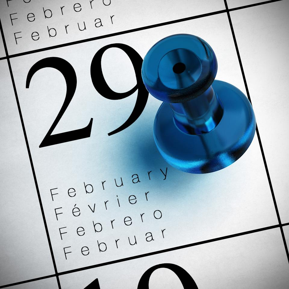 calendar where it's written february the 29th with a blue thumbtack