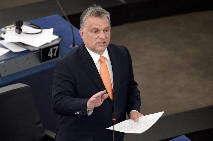 Hungary's Prime Minister Viktor Orban speaks in the European Parliament in Strasbourg, eastern France on May 19, 2015 (AFP Photo/Frederick Florin)